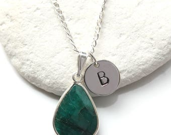 Emerald Necklace Sterling Silver - Personalised Initial Letter Pendant - May Birthstone  Emerald Quartz  Necklace Jewelry Jewellery - A42