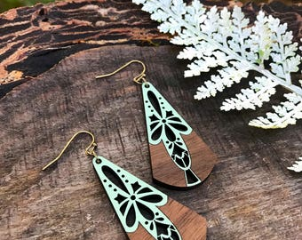Wooden Earrings - Lace Vintage