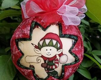 Christmas Ornament - Quilted Handmade Keepsake Ornament Elfin Magic