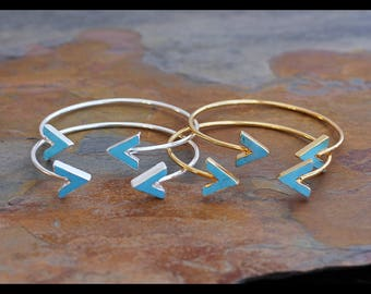 Turquoise Chevron Double Arrow Adjustable Bangle-V Turquoise Gold/Silver Bracelet-Adjustable Dual Gemstone Cuff-Festival,Tribal,Boho Bangle