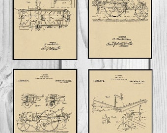 Group of Four Farm Patents #1,386,874 dated August 9, 1921. Available in various sizes and backgrounds.