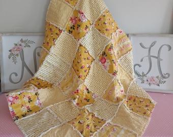 "Handmade Baby Rag Quilt/Blanket/Riley Blake Vintage Daydream in Gold/36""x36"""