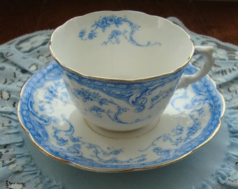Myotts England Royal Grafton China - Vintage Embossed Tea Cup and Saucer - Blue Design with Gold Trim