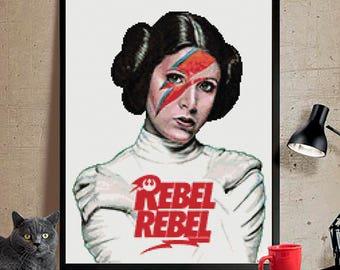 Princesa Leia punto de cruz patron,Princess Leia cross stitch pattern pdf,modern cross stitch.Star wars cross stitch,Star wars punto de cruz