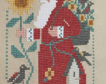 1994 Santa with Sunflower Finished Completed Cross Stitch  - Design from The Prairie Schooler
