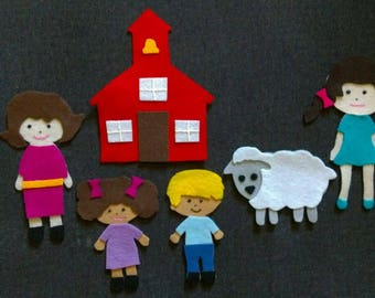Mary Had a Little Lamb Felt Set// Flannel Board Story Set // Nursery Songs // Teacher Story //