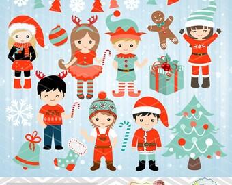 Christmas Digital Clip Art, Christmas Girls Clipart Christmas Boys Clip Art, Christmas Kids Clipart Teal Orange Blue Christmas Clip art 0213