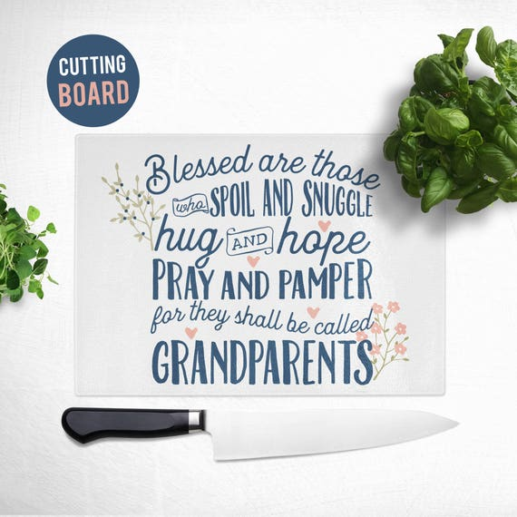 Tempered Glass Cutting Board - Gift for Grandmother - Cute Kitchen Decor - Grandparents Cutting Board
