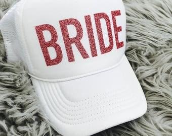 BRIDE- pink glitter Trucker Hat  // Bachelorette Party, Bridal Shower, Bride to be, bride tribe, Pink glitter