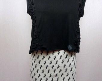 Lightning patterned Jersey mini skirt