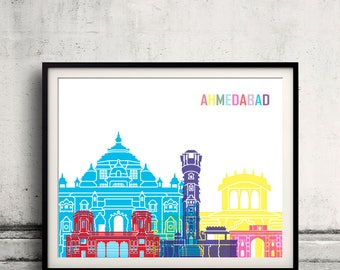 Ahmedabad skyline pop - Fine Art Print Glicee Poster Gift Illustration Pop Art Colorful Landmarks - SKU 2433