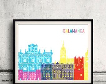 Salamanca skyline pop - Fine Art Print Glicee Poster Gift Illustration Pop Art Colorful Landmarks - SKU 2545