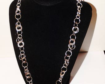 """925 Sterling Silver Stamped Multi Size Circles 24"""" Necklace."""