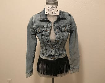 Jean jacket with fringe