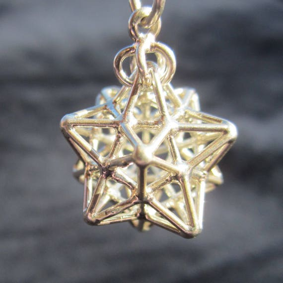 Solar spirit star 3d sacred geometry pendant silver gold like this item aloadofball Gallery