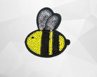 Bee Sequin Iron on Patch (M2) - Sequin Bee, Glitter Applique Iron on Patch - Size 6.3x6.8 cm