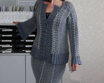 Women's hand Knitted wool jacket Grey warm soft stylish jacket cardigan