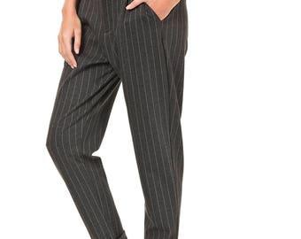 Women trousers, Medium waist, Dress Pants, Boyfriend pants, Stripes pants, Grey pants, Cotton pants, Casual pants, Women Pocket Trousers