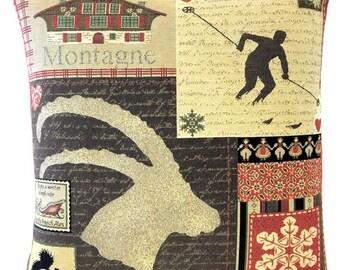 Mountain Decor - Patchwork Pillow - Ski Decor - Savoie French Decor - 18x18 Belgian Tapestry Pillow - Lodge Decor - PC-5692
