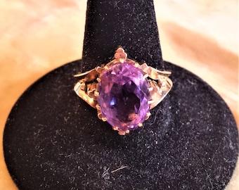 14K Rose Gold Amethyst Ring