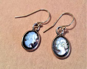 Gold Filled Mother of Pearl Cameo Earrings