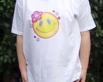 Kid's Shirt, Hippy Child, Flower Child, Peace, Hippy Clothing, Kid's Clothing, Smiley Face