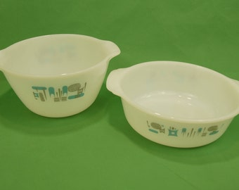 70s Fire King Anchor Hocking Blue Heaven Casserole Dish and Bowl 2 handles  Milk Glass Atomic MCM  Made in USA