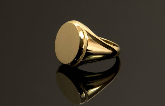 14k Gold Signet Ring Man Solid Gold Ring Signet Ring Family