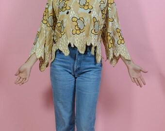 Vintage 80s Embroidered Floral Top Gold L