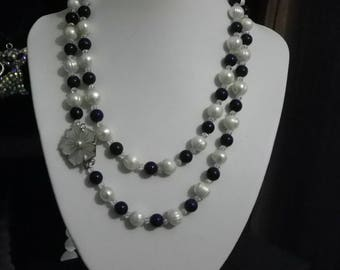 Necklace with cultured pearls of 10 mm and lapis lazuli 8 mm 96 cm