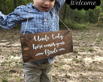 Personalized Wedding Sign-rustic-wood-country wedding-Ring Bearer Sign-Wedding-Here Comes the Bride-Wood sign-Flower Girl Sign-Ring bearer-