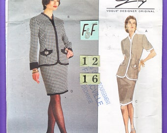 Collarless Suit Jacket Sewing Pattern/ Vogue 1207 Genny Women's lined, contrast band, fitted Jacket, straight Skirt, UnCut/ Size 12 14 16