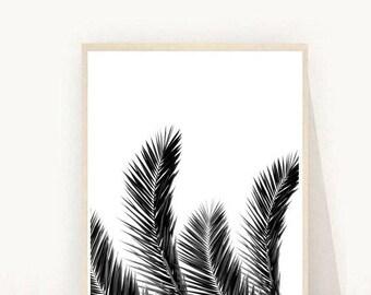 Palm Leaf Print, Tropical Leaf Print,  Palm Art Print,  Minimalist Art, Black and White, Wall Print, Wall Decor