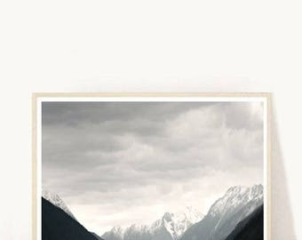 Landscape Poster, Mountain Prints, Black And White Print, Landscape Photo, Printable Art, Instant Download, Wall Art