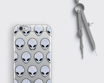 Alien Phone Case, Aliens Samsung Galaxy S8 Plus Case - Ufo iPhone 7 Case Space iPhone 6S Plus Case Holographic Clear Case Space LG G6 Case