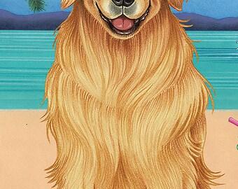 Golden Retriever Beach Towel