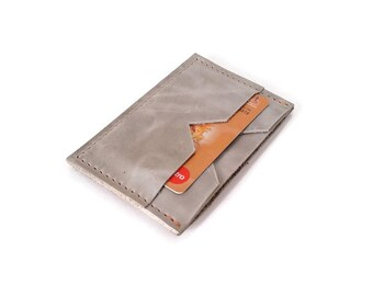 Slim wallet. Leather wallet. Grey leather. Card holder. ID Card Holder. Leather Wallet. Slim Leather Wallet. Minimalist wallet. Gift ideas