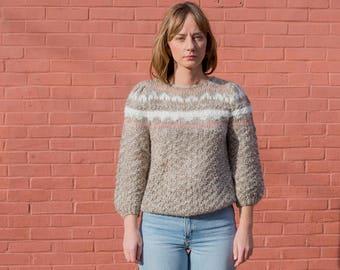 vintage beige striped sweater | flax stripe knit | pink tan fair isle pull over | tan mariniere sweater | s | small | 1970s | 70s