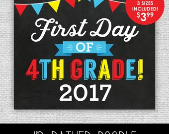 First Day of Fourth Grade Sign - First Day of 4th Grade - Printable Chalkboard Sign - 1st Day of Fourth Grade 2017 - 3 Sizes