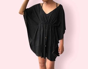 Black beaded beach dress, BW14 black, beach dress,  holiday, maternity wear, lounge wear, poolside party wear, party dress, fun dress