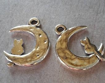 2 pcs pendants moon with cat, silver, 24 x 18 mm