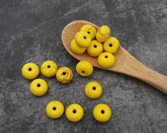 Howlite stone beads beads spacer rondelle donut beads, yellow, 8 x 4 mm