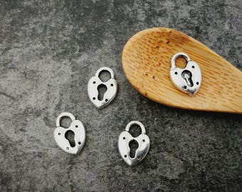 5 pcs, lock heart, lock, silver, pendant charms 13 x 8 mm
