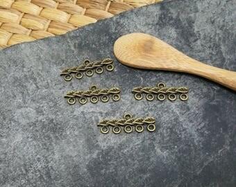 2 pcs chandelier bar MULTISTRAND brass leaves bronze color, 28 mm