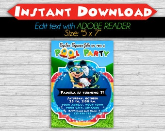 50% OFF SALE Mickey Mouse Clubhouse Pool Party Invitation Editable Text, PDF, Instant Download