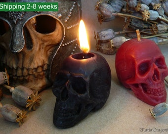 Colored Beeswax Skull Candle - Samhain, Halloween, Gothic - Black Beeswax Candles