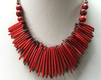 Tagua Necklace, Ecofriendly Necklace, Tagua Nut Necklace, Beaded Necklace, Handmade Necklace, Gifts for Mom, Gifts for Her, Red Necklace