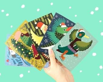 Christmas Card A6 - Christmas Birds - COMBI-PACK - folded greeting card / postcard - Christmas cards set - Christmas cards birds - Xmas card