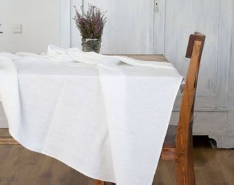 Natural linen tablecloth, Modern rustic kitchen decor, Farmhouse table cloth, Mothers day from daughter, Organic gift, Country home decor