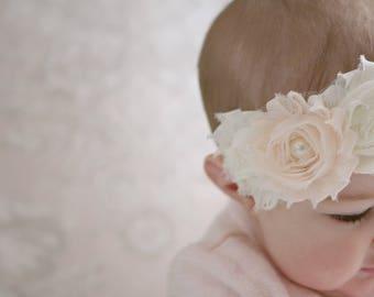 baby headband, shabby chic headband, ivory headband, blush pink headband, pearl headband, baby shower gift, newborn headband